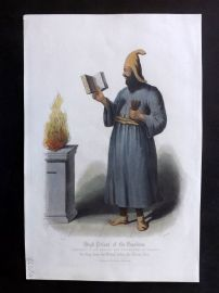 After Picart 1860 Hand Col Print. High Priest of the Guebres, Persia